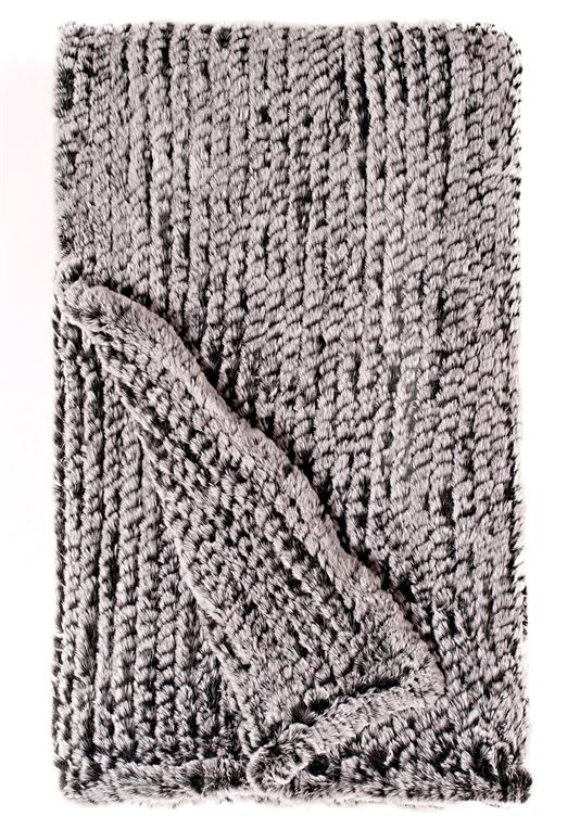 Black Knit Faux Fur Throw 60 x 72 Faux Fur Blankets - Donna Salyers Fabulous-Furs.png