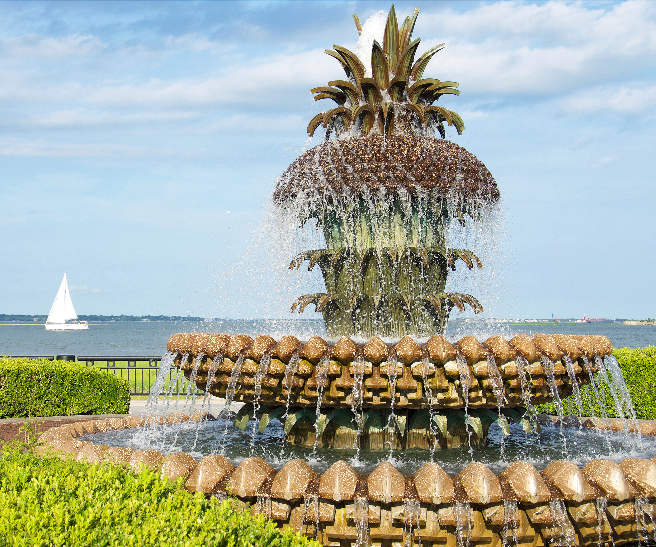 Historical Pineapple Fountain found in Charleston, South Carolina Waterfront Park
