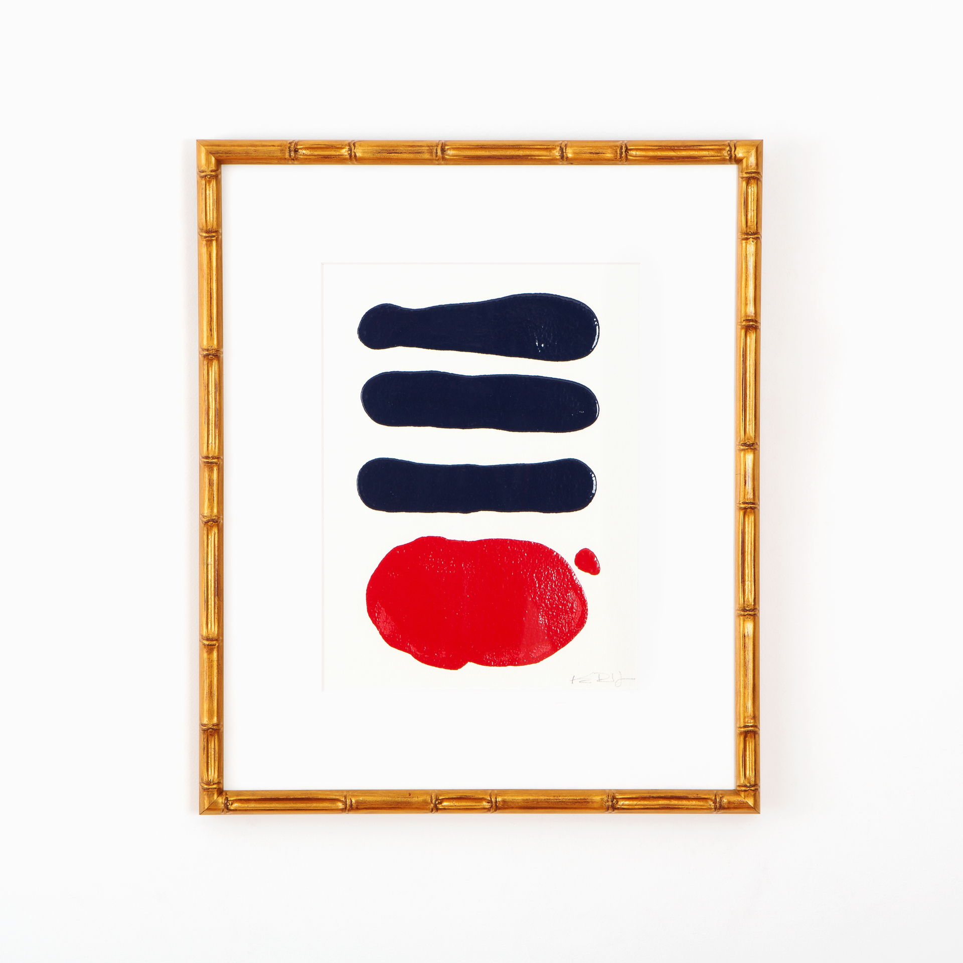 Framebridge_Navy_Red_Abstract_Art_Gold_Bamboo_Frame_White_Wall.jpg
