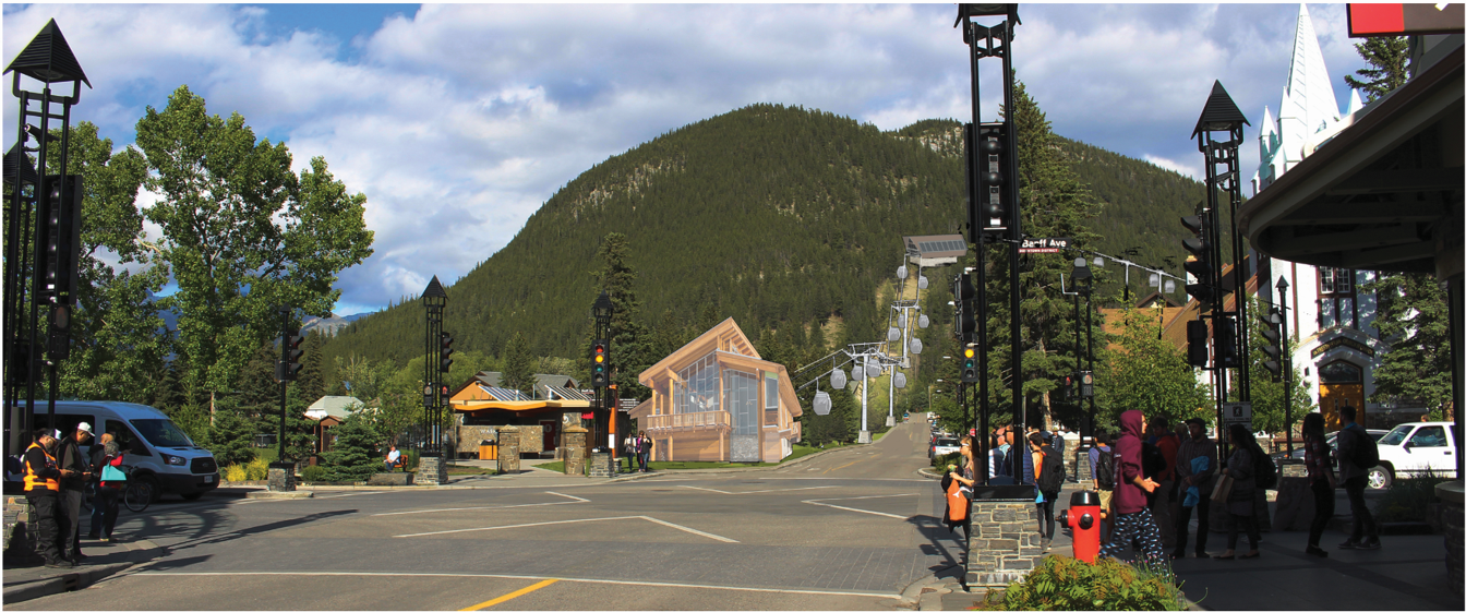 Conceptual image of a gondola station on Wolf Street/Banff Avenue.