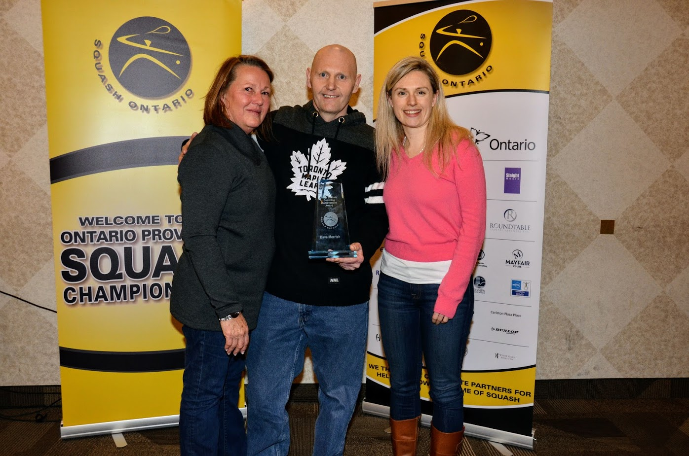 Dave pictured with Cindy Sachvie (left) and 2017 award recipient Marci Sier (right).