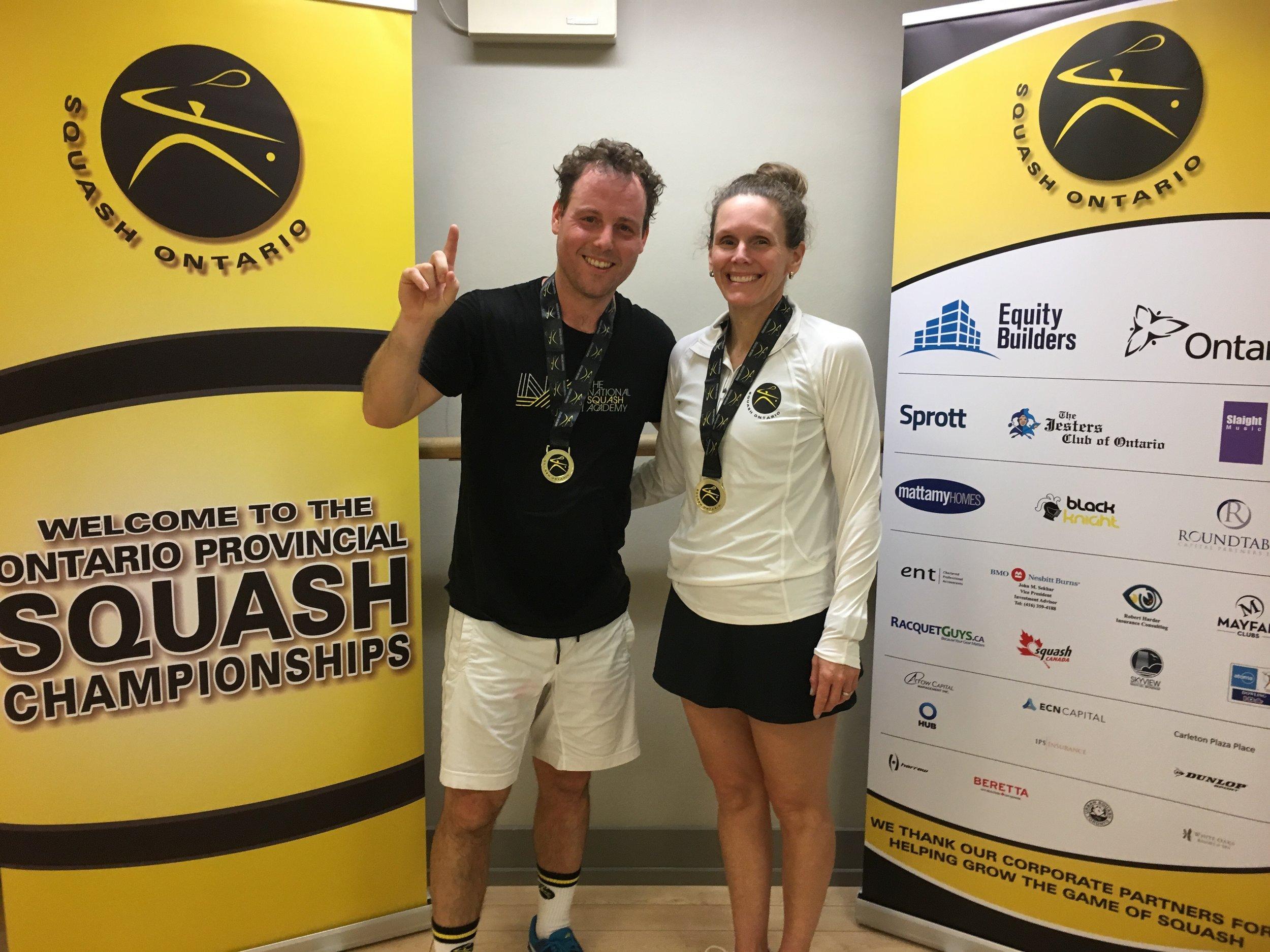 Seanna Keating, Women's Open Champion with Squash Ontario's Jamie Nicholls