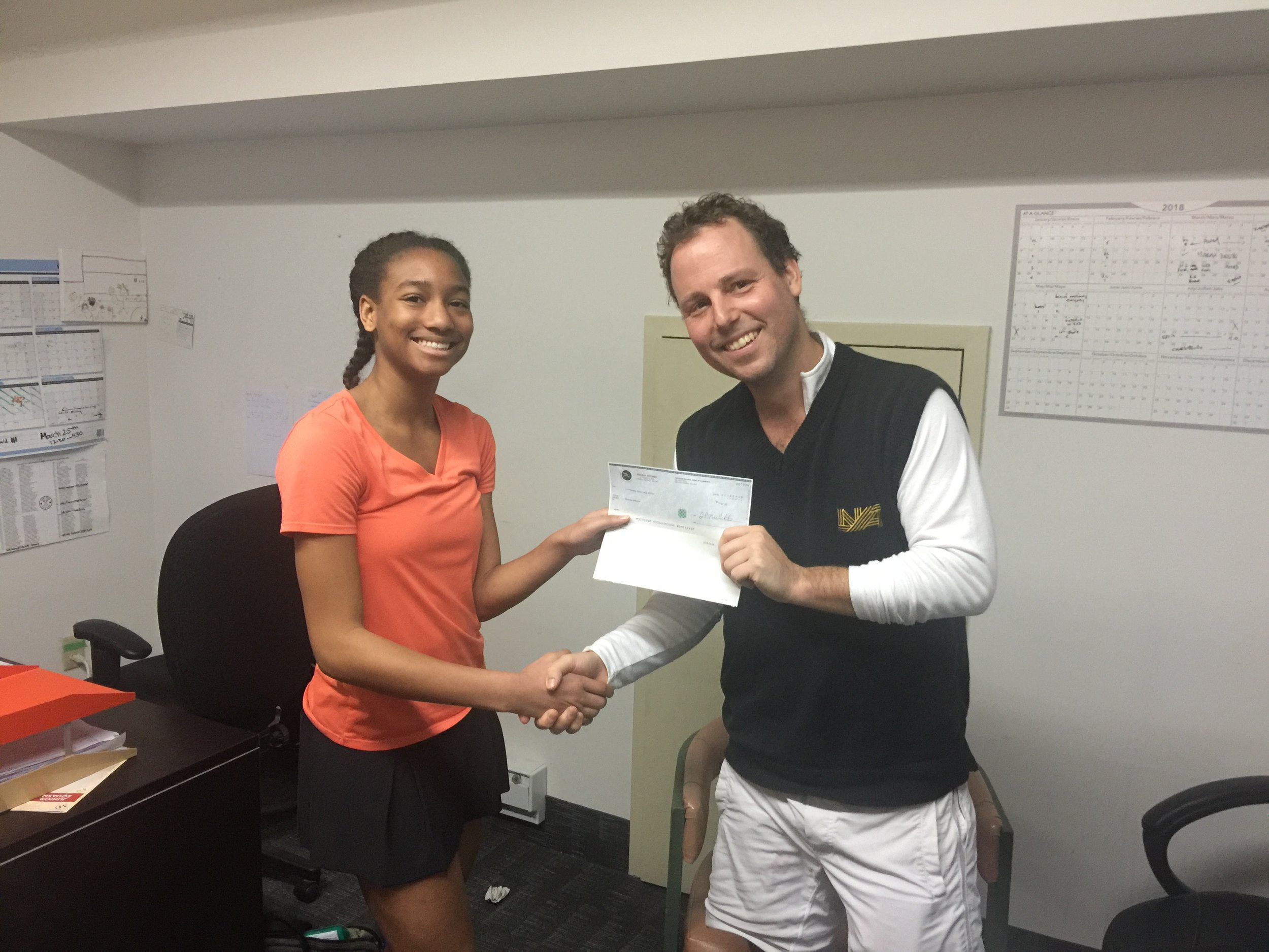Brianna Jefferson, Women's Open Consolation Winner with Squash Ontario's Jamie Nicholls