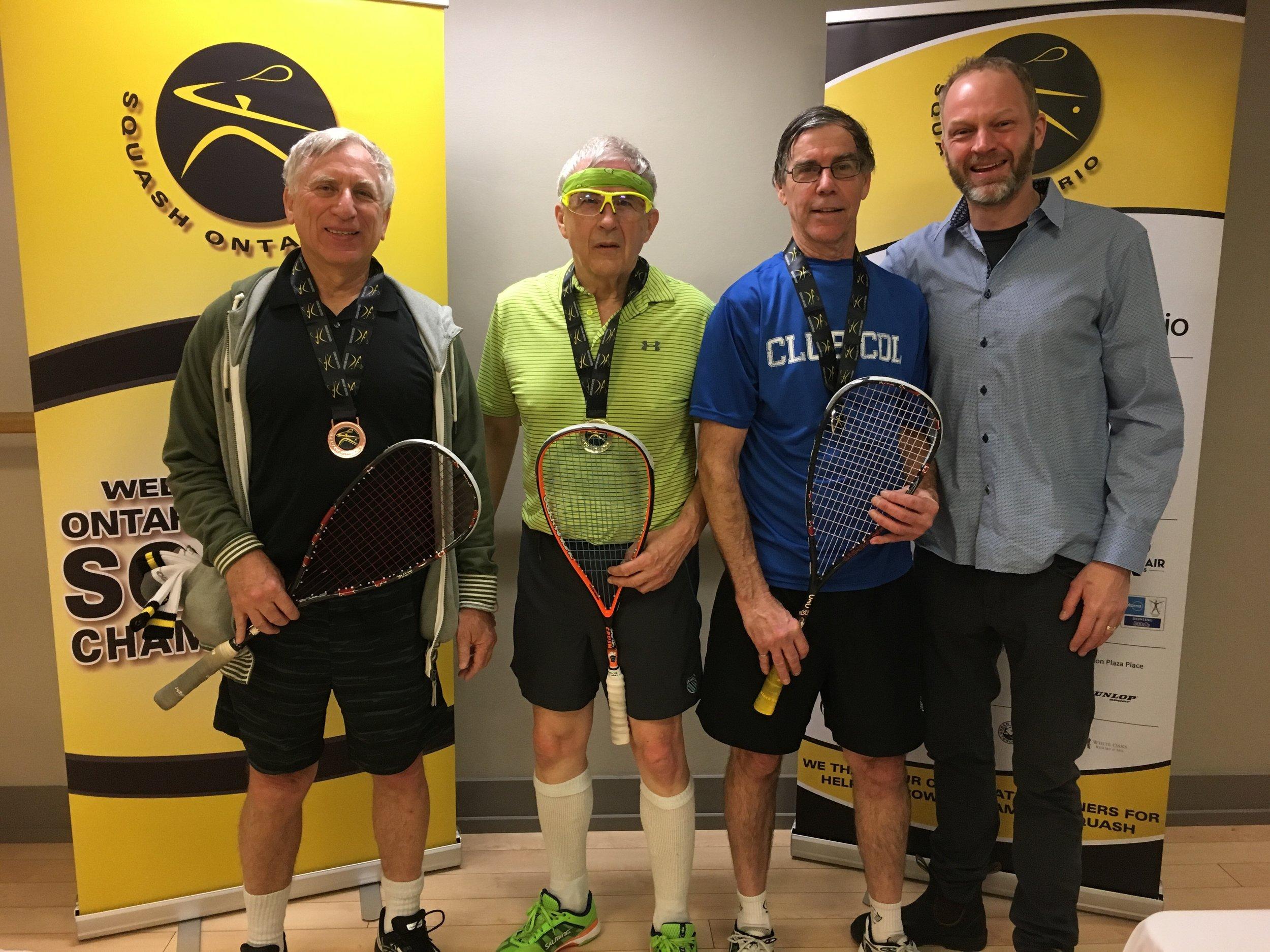 L-R: Allan Kogon, Robert De Valk, Gary W Grant, Squash Ontario's President Bruce Marrison