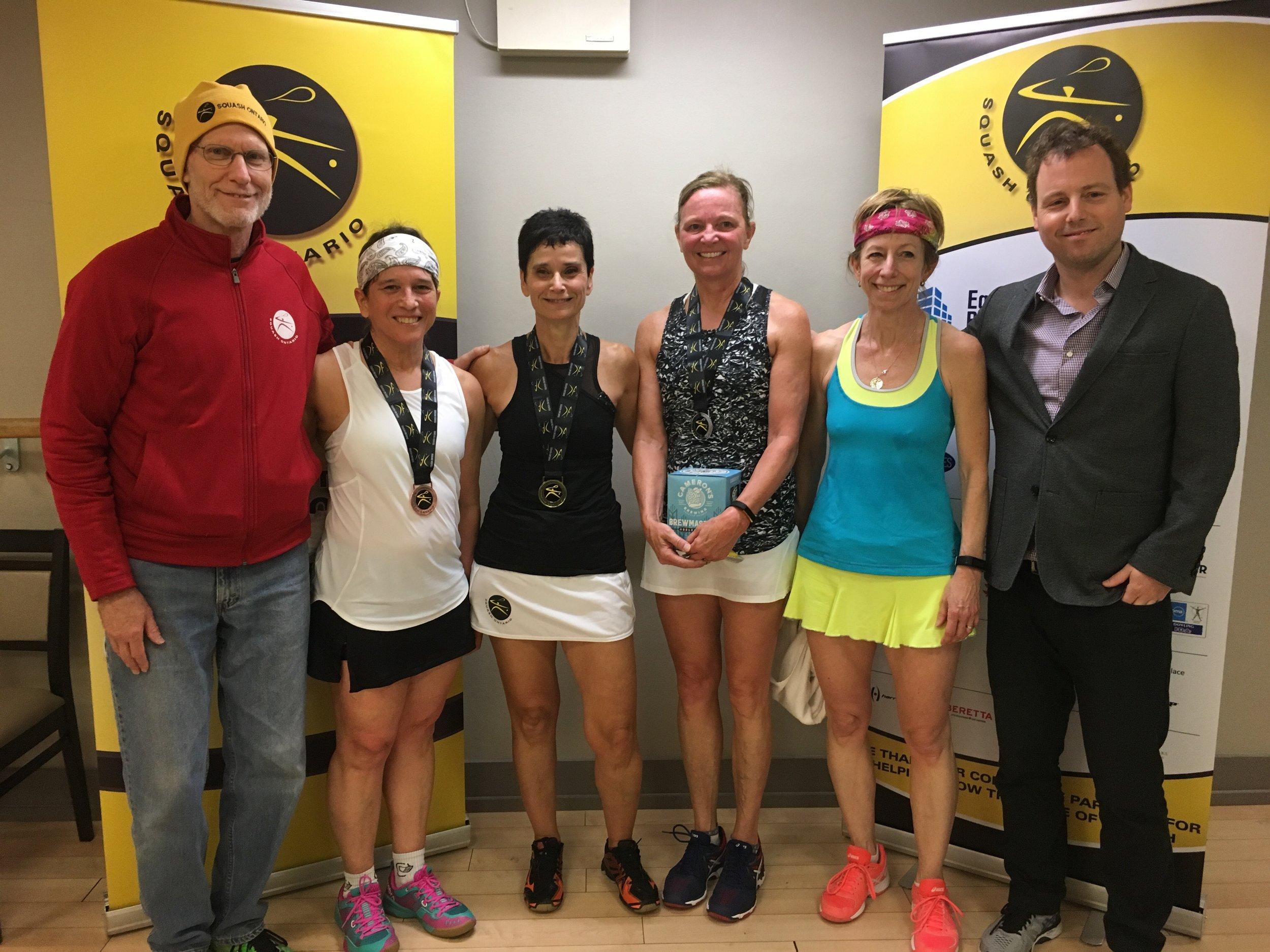 L-R: Coach Rob Brooks, Lorraine Tetreault, Elka Markus, Kathy Cowper, Alison Le Ber, Squash Ontario's Jamie Nicholls