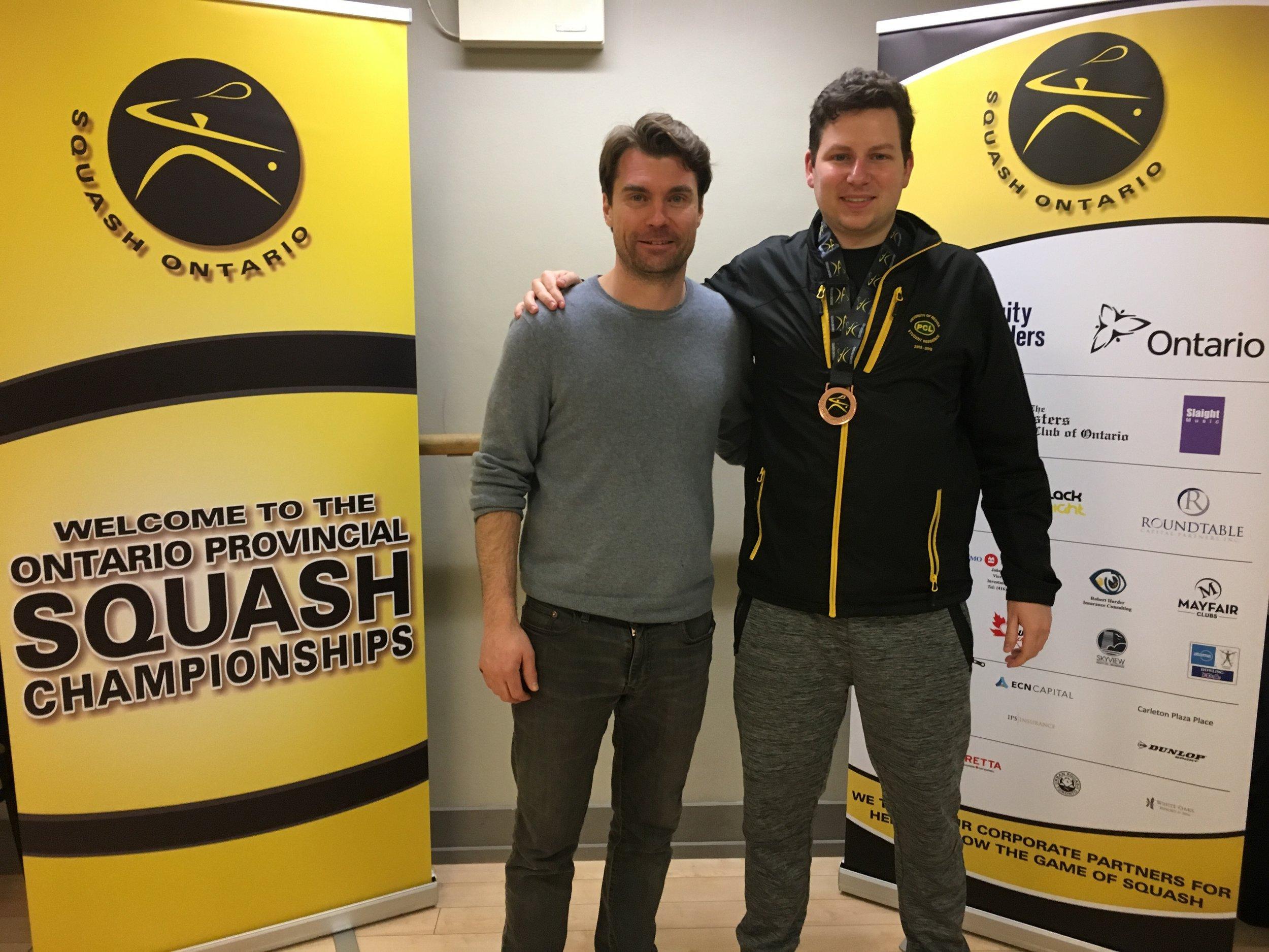 Patrick Clinton (right) with Squash Stream TV's Josh Ginou