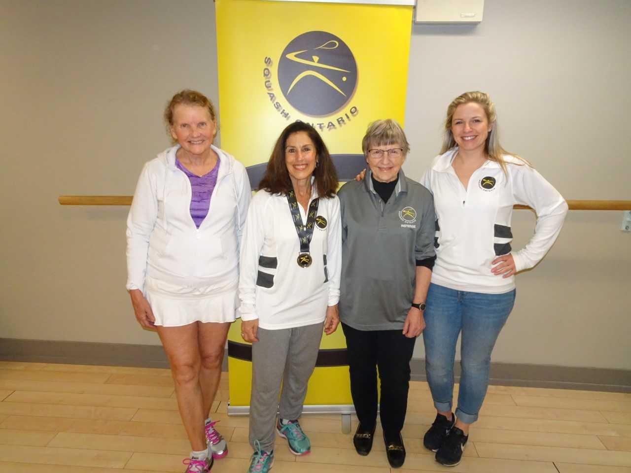 L-R: Christine Kogon, Marilyn Saltzman, Penny Glover, Squash Ontario's Lynsey Yates