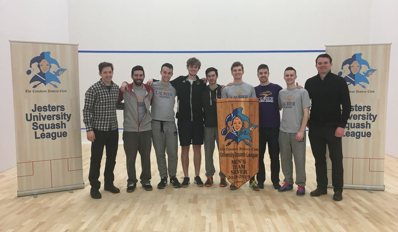 Division 2 Finalists Team Laurier, pictured with Jesters Alex Carter (left) and Ryan Forster