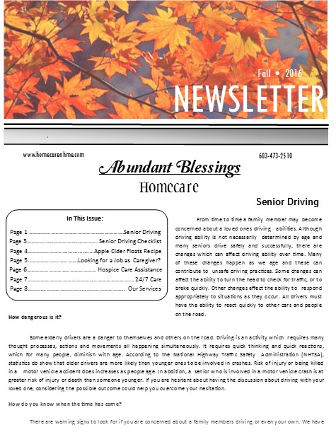 Fall 2016 Homecare newsletter