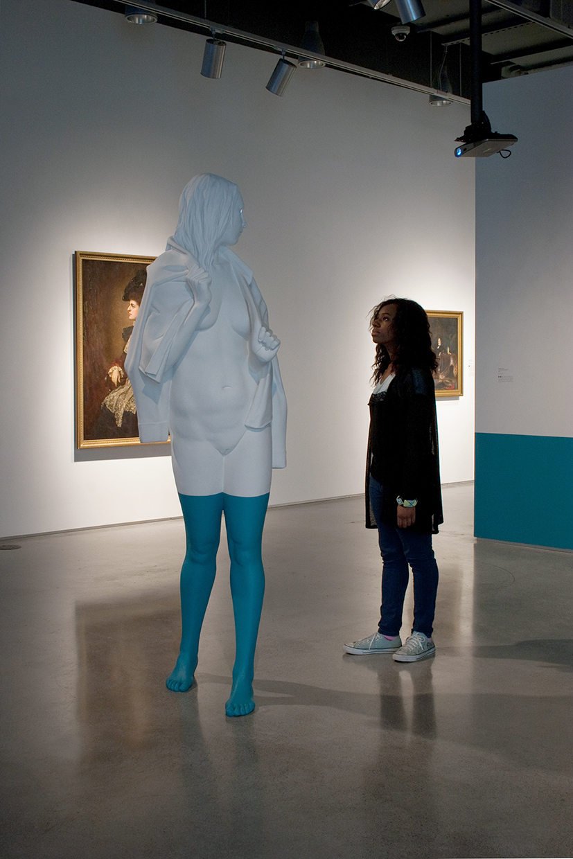 "Christina West,  Pause , 2015, painted Aqua Resin and video projection, 84"" tall"