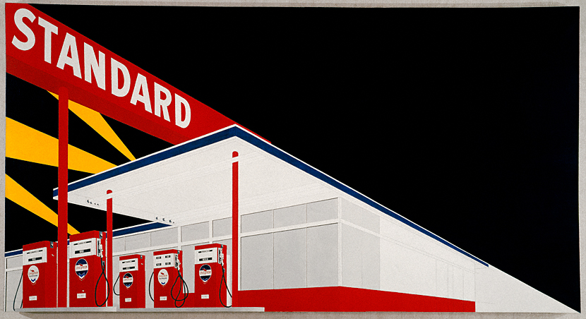 Standard Station, Amarillo Texas  (Ed Ruscha, 1963) — Featured in Ruscha's photobook  Twentysix Gasoline Stations  (1963) and included in his second solo exhibition at the Ferus Gallery in 1964.