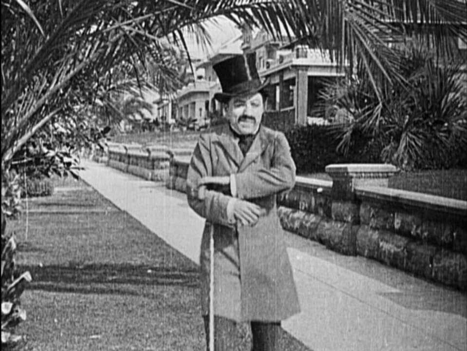 Charlie Chaplin as Edgar English in his screen debut film  Making a Living  (Keystone Studios, 1914), shot at what is now 1728 Glendale Blvd.