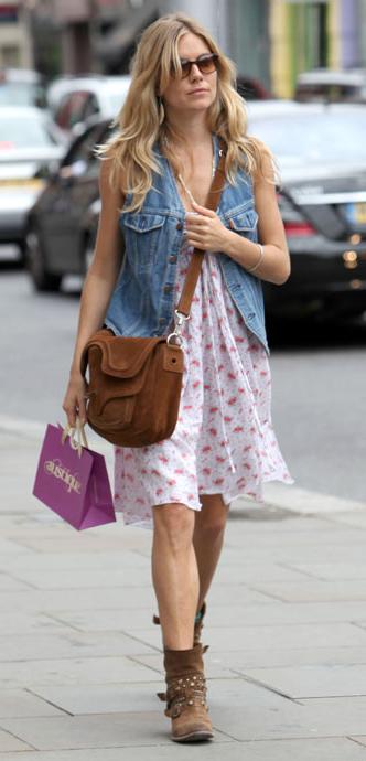 celeb-boho-style-type-siennamiller-jean-vest-floral-dress-casual-street-boots-wavy-hair-spring-summer.jpg