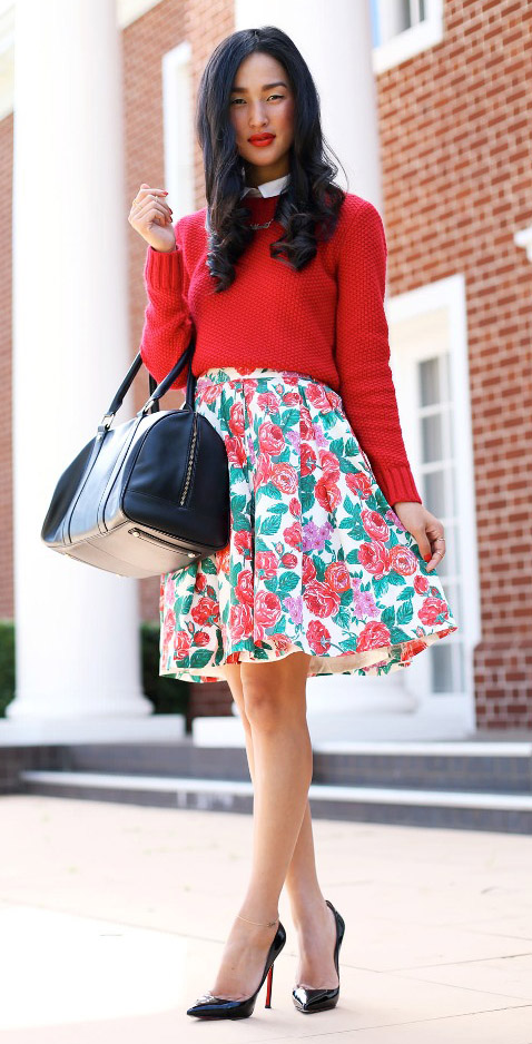 detail-romantic-girly-style-type-red-sweater-floral-print-aline-skirt-black-handbag-pumps-blogger-fashion-streetstyle.jpg