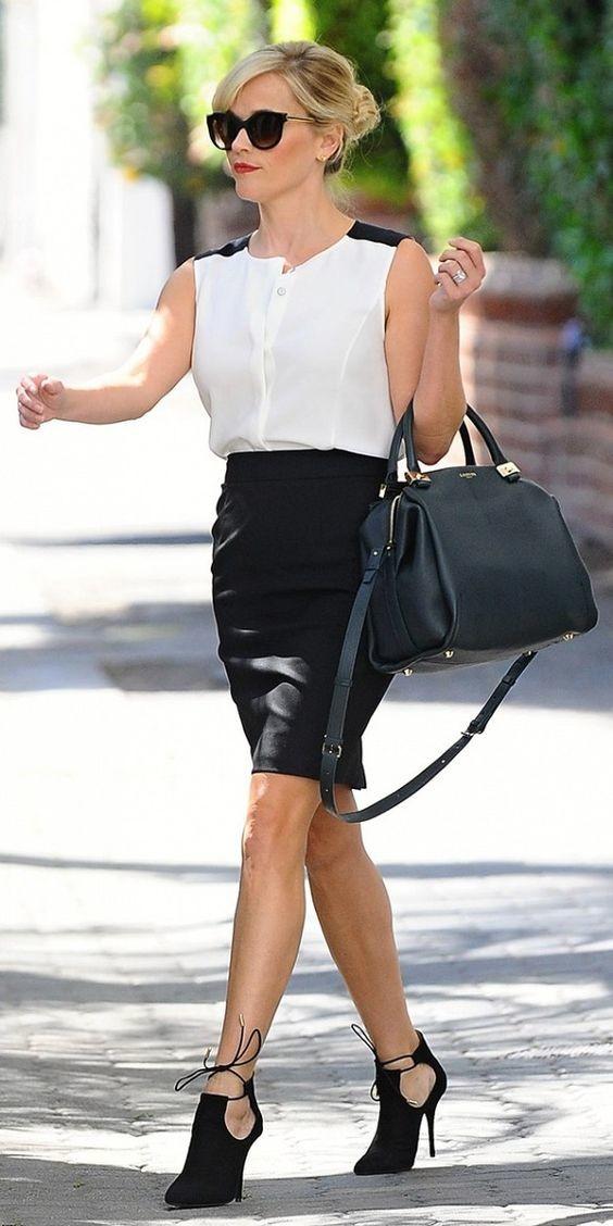 black-pencil-skirt-white-top-blouse-sun-black-bag-black-shoe-booties-bun-reesewitherspoon-howtowear-style-spring-summer-blonde-work.jpg