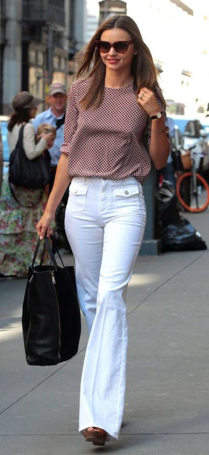 white-flare-jeans-r-burgundy-top-blouse-print-black-bag-tote-sun-brown-shoe-sandalw-wear-fashion-style-spring-summer-wedges-celebrity-hairr-mirandakerr-hairr-classic-work.jpg
