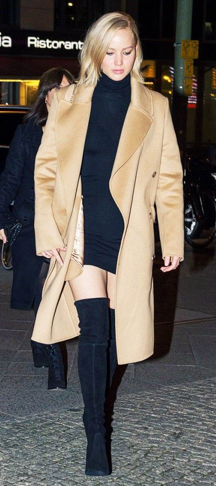 black-dress-sweater-camel-jacket-coat-black-shoe-boots-knee-jenniferlawrence-style-fall-winter-blonde-dinner.jpg