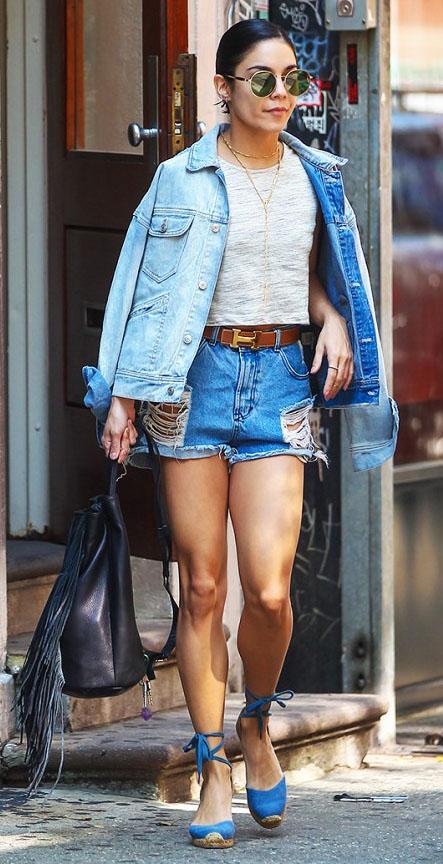 blue-med-shorts-denim-cutoffs-grayl-tee-belt-necklace-blue-light-jacket-jean-blue-shoe-sandalw-black-bag-pack-sun-bun-vanessahudgens-spring-summer-brun-lunch.jpg