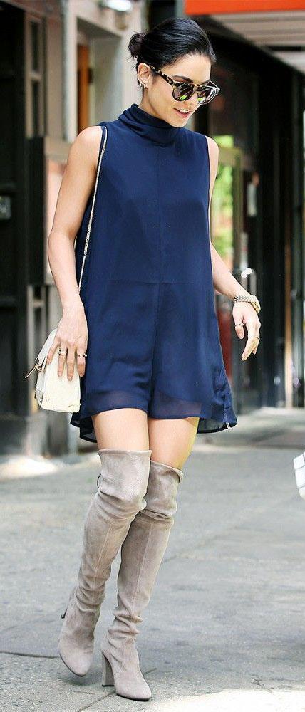 blue-navy-dress-mini-turtleneck-white-bag-sun-bun-gray-shoe-boots-overknee-vanessahudgens-fall-winter-brun-lunch.jpg