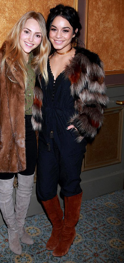 black-jumpsuit-brown-jacket-coat-fur-fuzz-brun-bun-howtowear-fashion-style-outfit-fall-winter-vanessahudgens-cognac-shoe-boots-choker-dinner.jpg