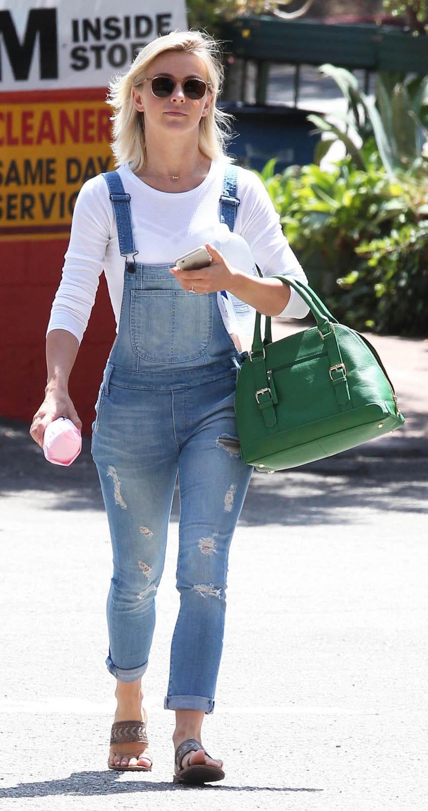 blue-light-jumpsuit-overalls-denim-white-tee-green-bag-sun-juliannehough-blonde-spring-summer-weekend.jpg
