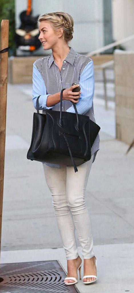 white-skinny-jeans-blue-light-top-collared-shirt-stripe-black-bag-tote-braid-white-shoe-sandalh-juliannehough-blonde-spring-summer-work.jpg