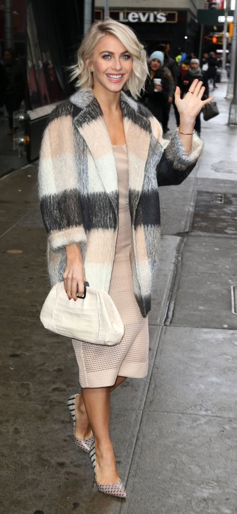 tan-pencil-skirt-tan-top-cami-grayd-jacket-coat-plaid-white-bag-juliannehough-blonde-fall-winter-dinner.jpg
