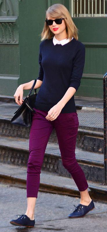 purple-royal-slim-pants-blue-navy-sweater-sun-blue-shoe-brogues-taylorswift-fall-winter-blonde-work.jpg