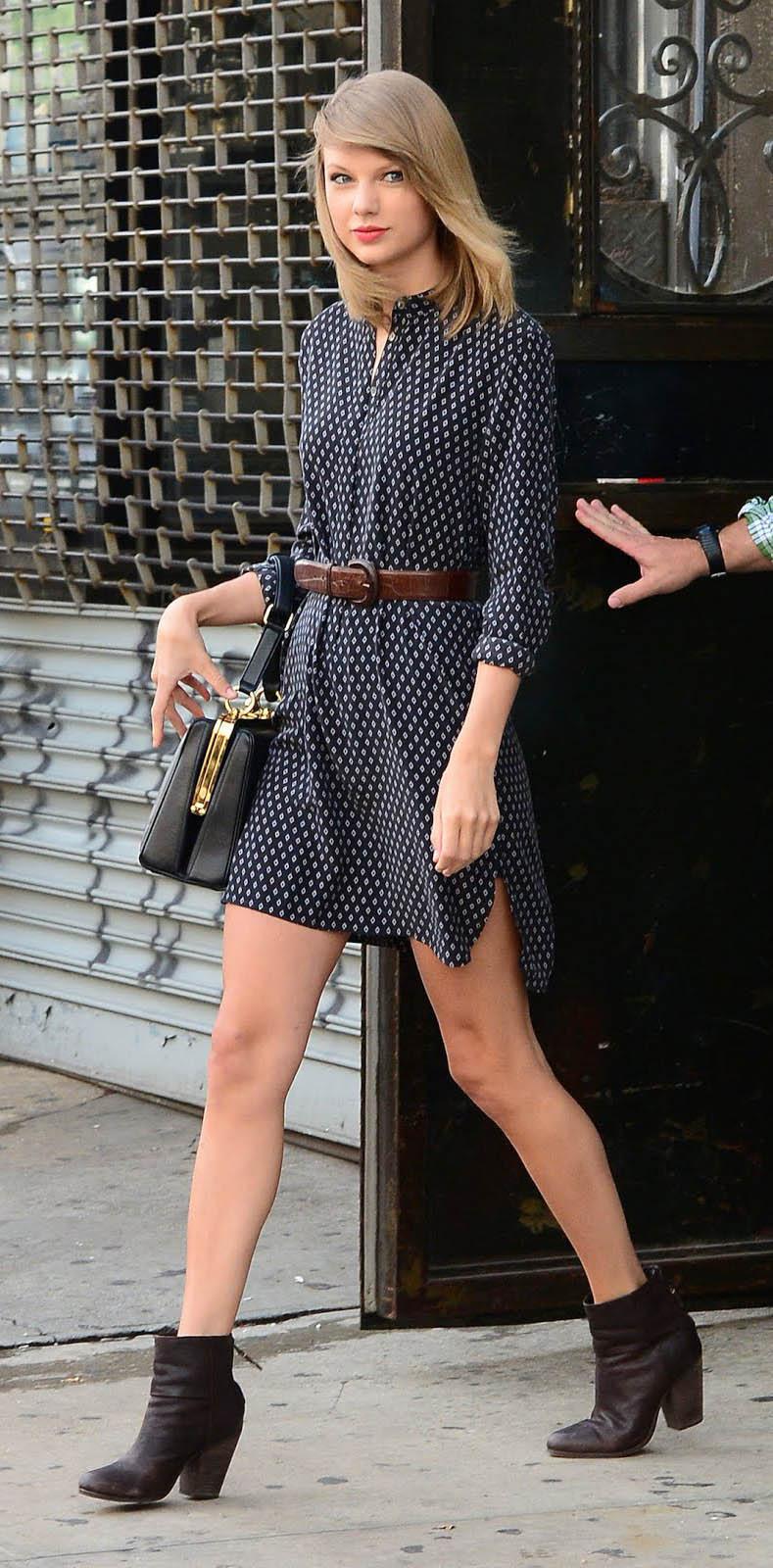blue-navy-dress-shirt-belt-brown-shoe-booties-black-bag-print-taylorswift-fall-winter-blonde-work.jpg