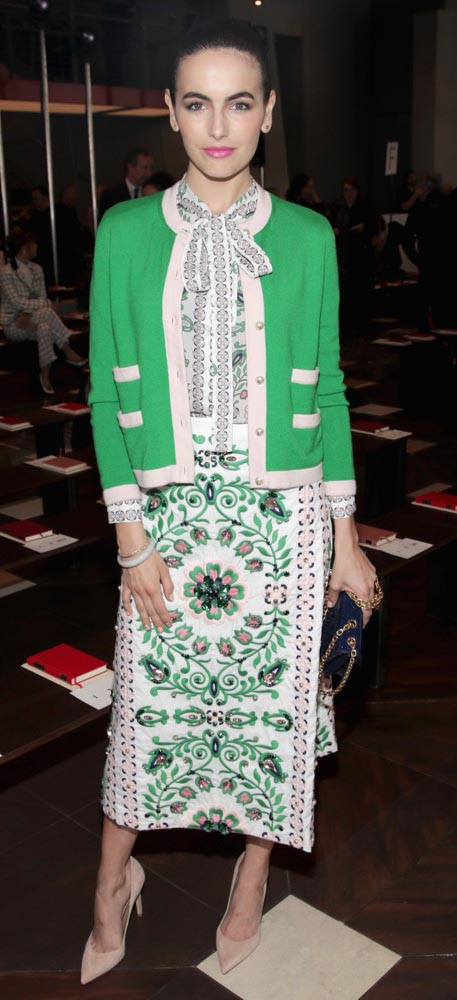 white-midi-skirt-print-white-top-blouse-green-emerald-cardigan-tan-shoe-pumps-toryburch-camillabelle-brun-fall-winter-lunch.jpg