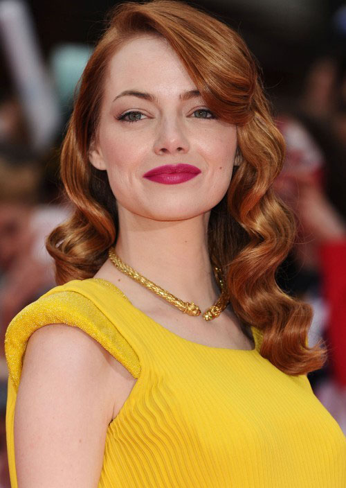 hair-emmastone-makeup-hairr-yellow-dress-necklace-rose-lips-wavy-old-hollywood-sidepart.jpg