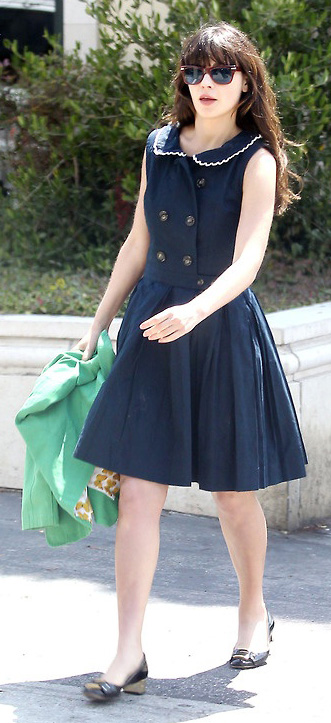 blue-navy-dress-aline-black-shoe-flats-zooeydeschanel-brun-spring-summer-work.jpg