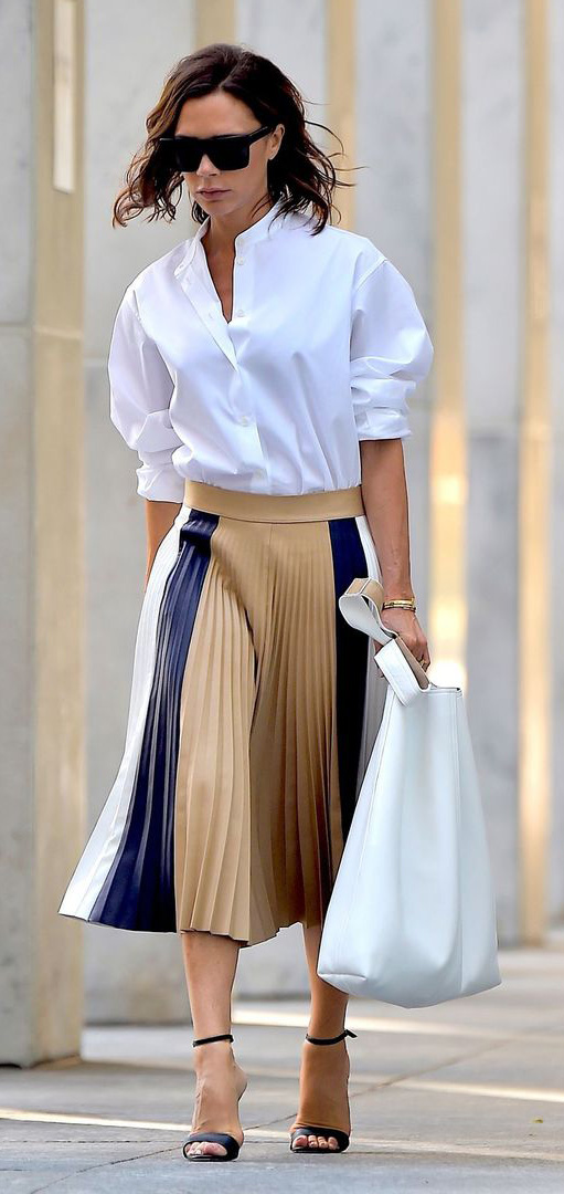 tan-midi-skirt-stripe-pleat-white-top-collared-shirt-black-shoe-sandalh-victoriabeckham-brun-spring-summer-work.jpg