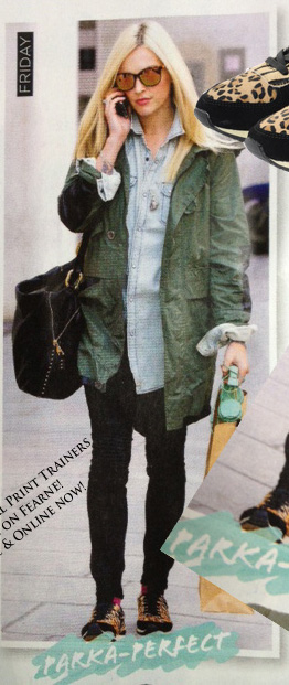 black-skinny-jeans-blue-light-top-collared-shirt-fearnecotton-wear-outfit-fashion-fall-winter-tan-shoe-sneakers-green-olive-jacket-coat-parka-sun-black-bag-leopard-blonde-weekend.jpg