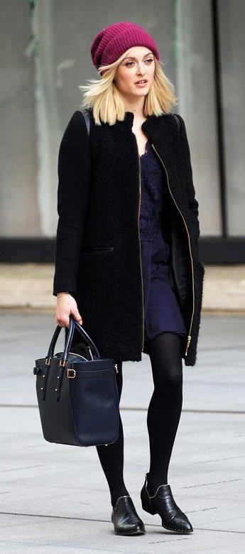 blue-navy-dress-mini-black-jacket-coat-black-tights-black-shoe-booties-blue-bag-tote-beanie-fearnecotton-fall-winter-blonde-lunch.jpg