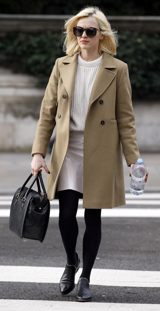 white-mini-skirt-white-sweater-tan-jacket-coat-sun-black-bag-black-tights-black-shoe-booties-fearnecotton-fall-winter-blonde-work.jpg