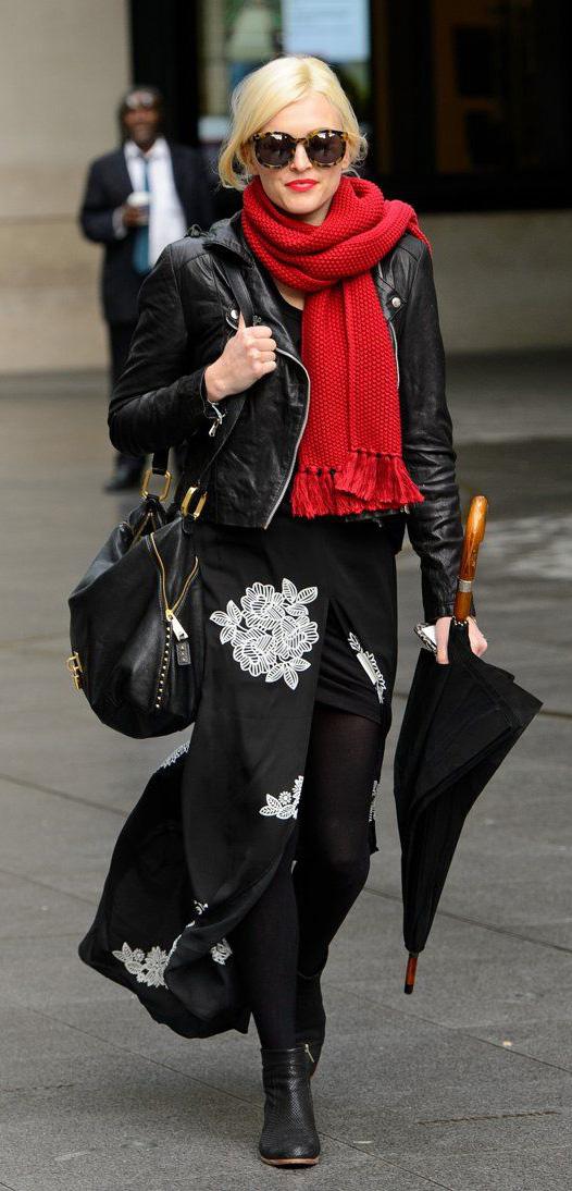 black-dress-maxi-floral-print-black-tights-red-scarf-sun-black-jacket-moto-black-bag-black-shoe-booties-fearnecotton-fall-winter-blonde-dinner.jpg