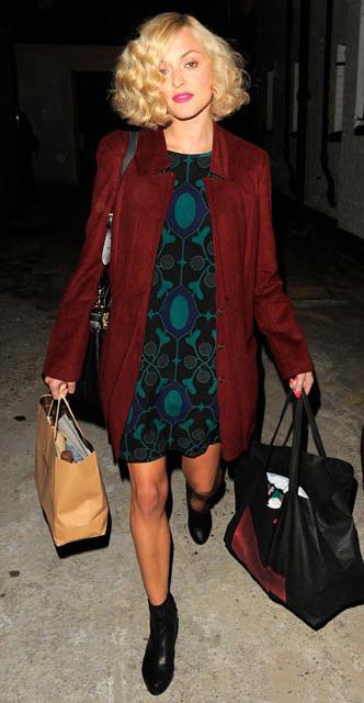 blue-med-dress-zprint-graphic-red-jacket-coat-black-shoe-booties-mini-wear-style-fashion-fall-winter-fearnecotton-celebrity-dinner.jpg