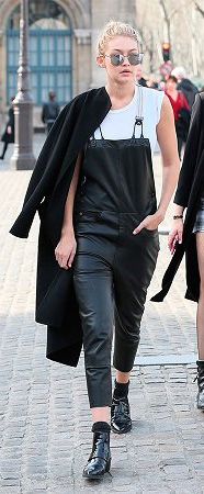 black-jumpsuit-white-tee-black-shoe-booties-blonde-socks-black-jacket-coat-bun-sun-spring-summer-wear-fashion-style-gigihadid-leather-overalls-celebrity-lunch.jpg