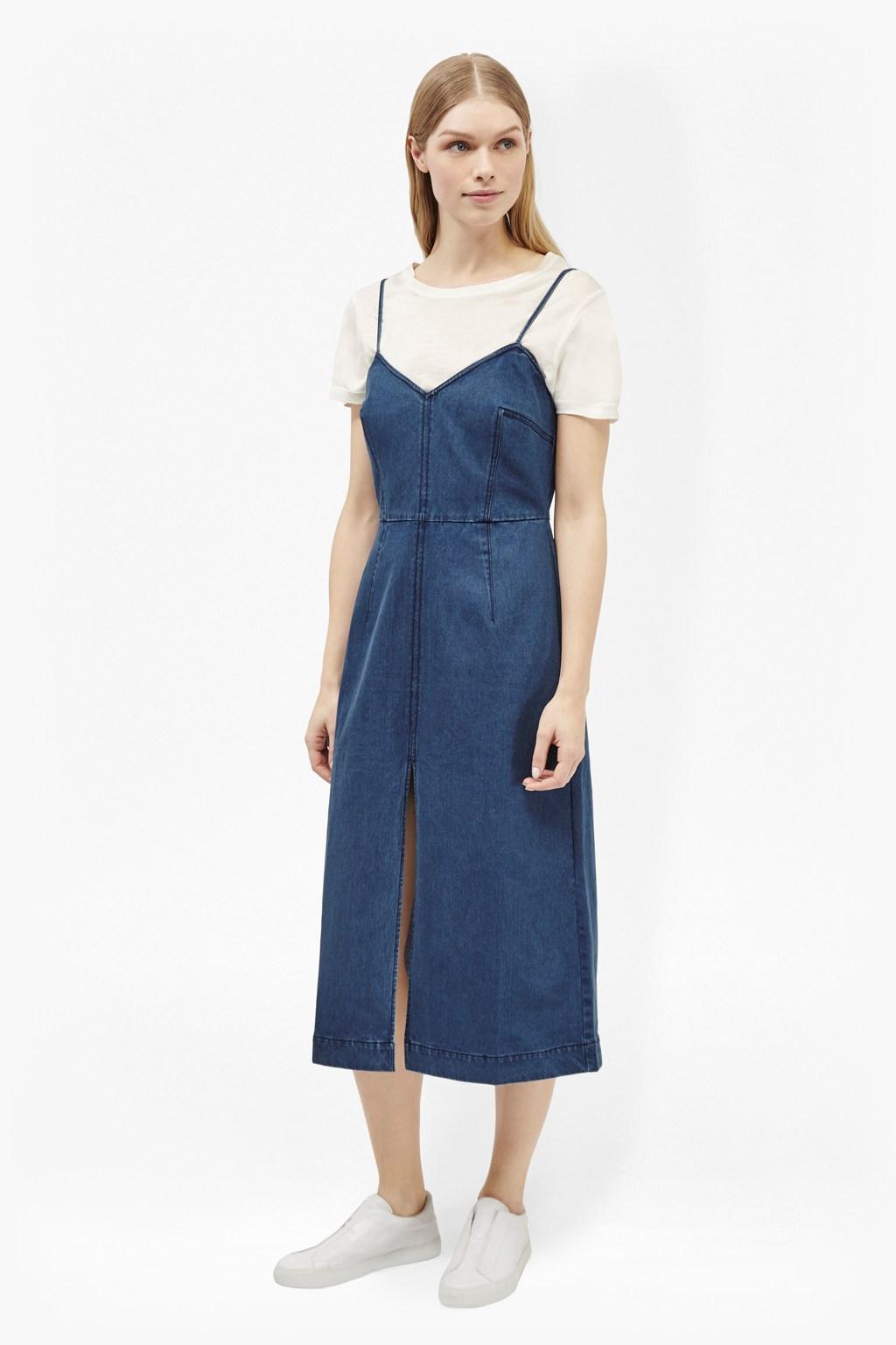 blue-med-dress-slip-white-tee-layer-white-shoe-sneakers-denim-spring-summer-blonde-weekend.jpg