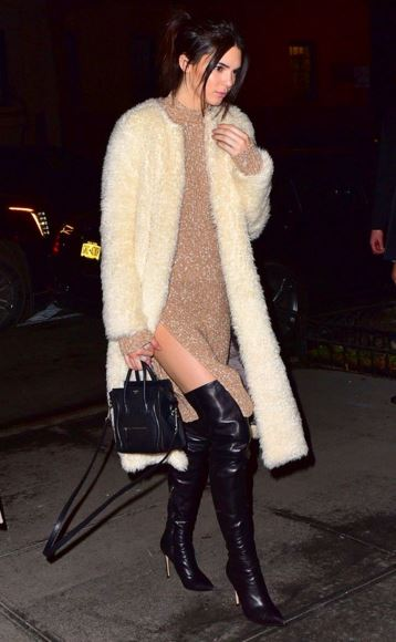 o-tan-dress-white-jacket-coat-fuzz-black-shoe-boots-black-bag-sweater-wear-style-fashion-fall-winter-kendalljenner-celebrity-thighboots-night-date-brunette-dinner.jpg