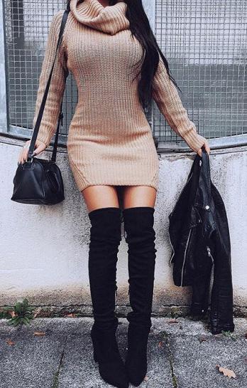 tan-dress-sweater-turtleneck-black-shoe-boots-otk-black-bag-black-jacket-moto-fall-winter-brun-dinner.jpg