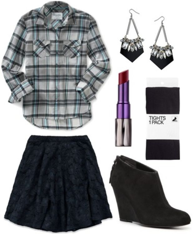 blue-navy-mini-skirt-grayl-plaid-shirt-wear-style-fashion-fall-winter-tuck-in-shirt-black-shoe-booties-black-tights-earrings-night-date-dinner.jpg