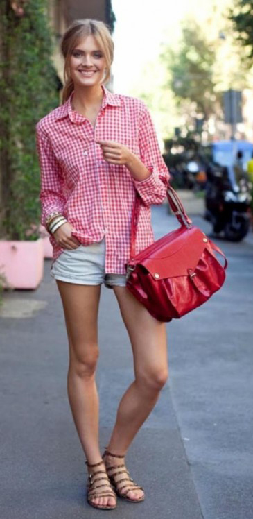 white-shorts-r-pink-magenta-collared-shirt-pony-red-bag-cognac-shoe-sandals-howtowear-fashion-style-outfit-spring-summer-gingham-denim-streetstyle-blonde-weekend.jpg