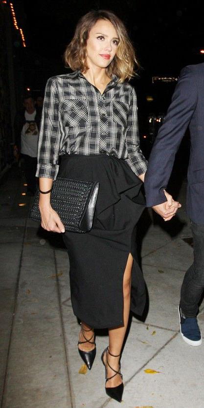 black-midi-skirt-black-plaid-shirt-jessicaalba-black-shoe-pumps-black-bag-clutch-fall-winter-hairr-dinner.jpg