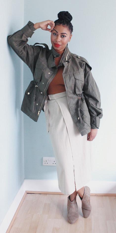 white-midi-skirt-camel-sweater-turtleneck-green-olive-jacket-utility-tan-shoe-booties-brun-bun-fall-winter-weekend.jpg