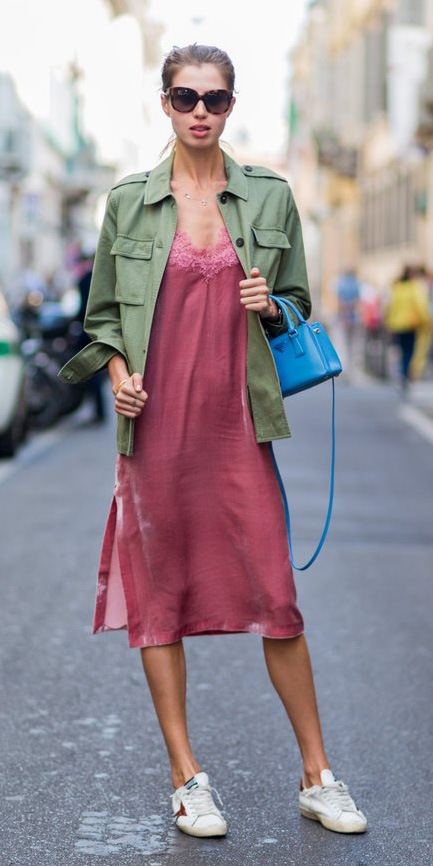 pink-magenta-dress-slip-green-olive-jacket-utility-blue-bag-white-shoe-sneakers-sun-bun-hairr-spring-summer-weekend.jpg