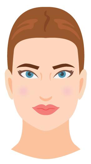Defining characteristic: Your strong jawline! And your face's shorter length. Different from round in that you don't have much softness in your face—you have sharpness in your features.