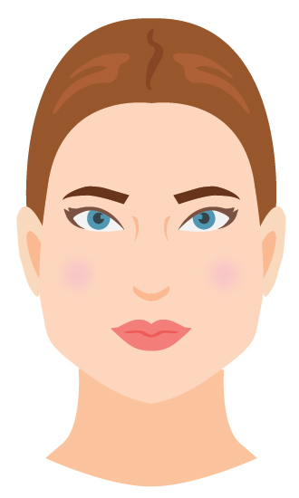 Defining characteristic: A very strong jawline that is the widest/most prominent part of your face! The face tapers inward from your jawline up to your forehead.