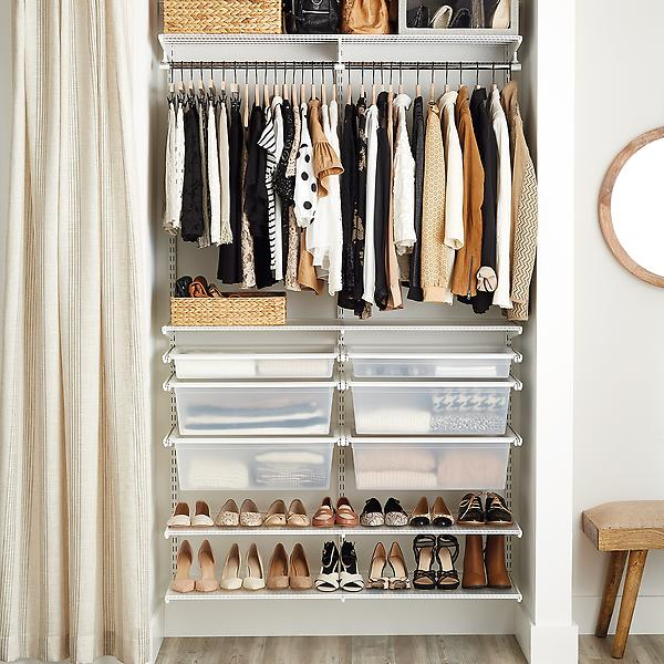 White elfa Reach-In Closet, $338+ at The Container Store - The elfa system has many options for layout and colors/materials! Elfa also remains flexible for changing the configuration as needs change over time.